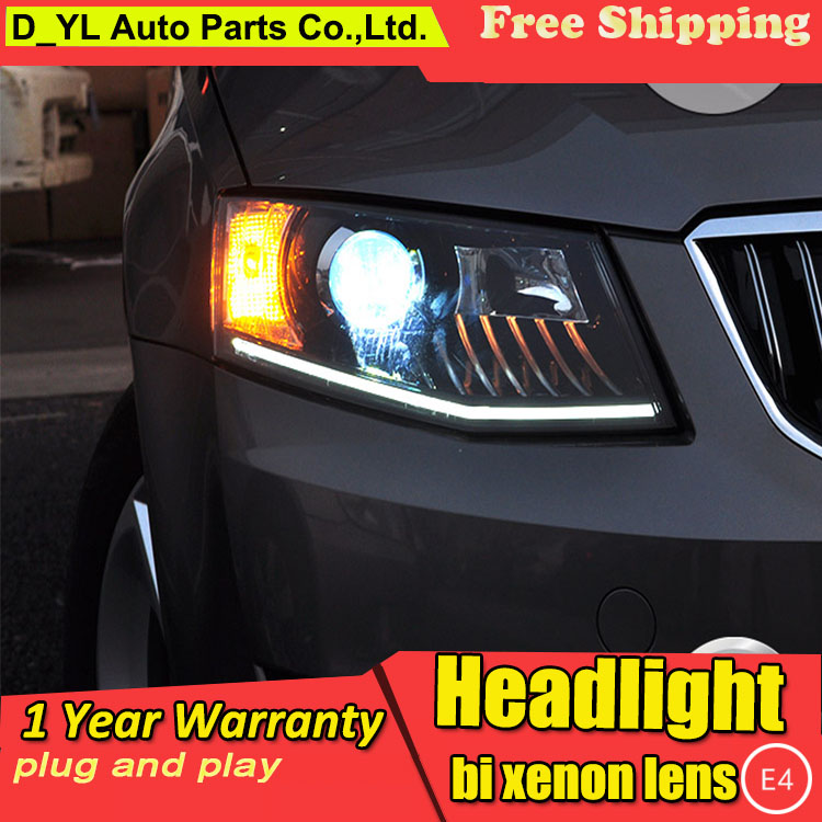D YL Car Styling for Skoda Octavia Headlights 2015 Octavia LED Headlight DRL Lens Double Beam