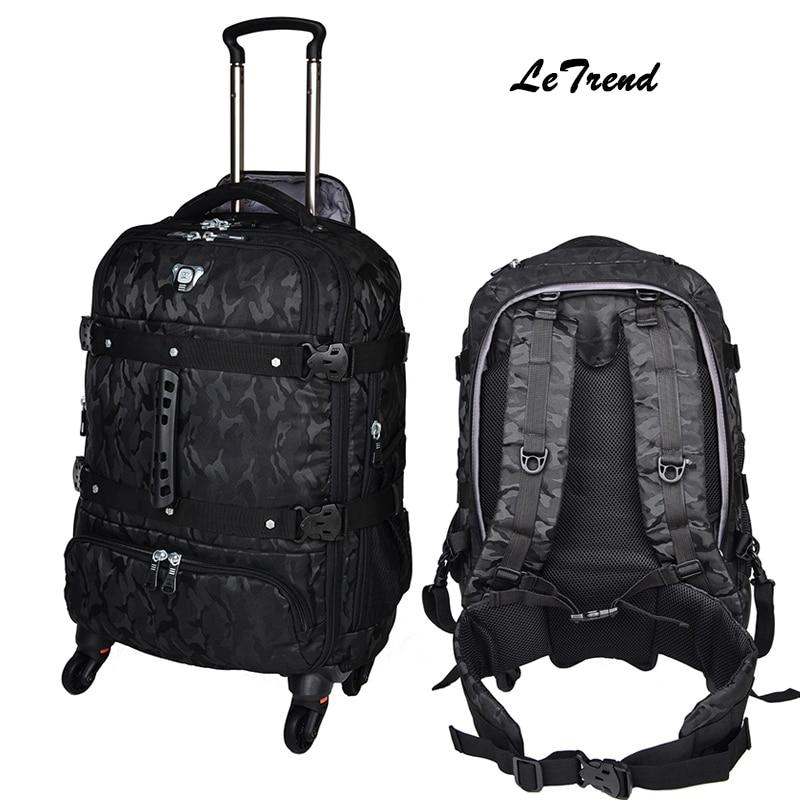 Letrend Новая мода многофункциональный дорожная сумка Для мужчин Сумки на колёсиках Spinner Тележка рюкзак интернат окно съемный багажник чемода