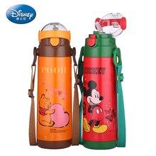 Disney Thermos Kettle Baby Straw Bottle Portable Stainless Steel Colorful Vacuum Flask Flip lid Leak proof Pot 500ML drinkware