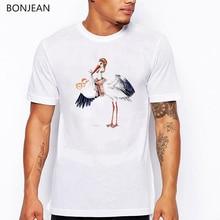 Aviator Stork with Twin Babies funny t shirts men bird print tshirt homme harajuku shirt t-shirt tumblr clothes streetwear