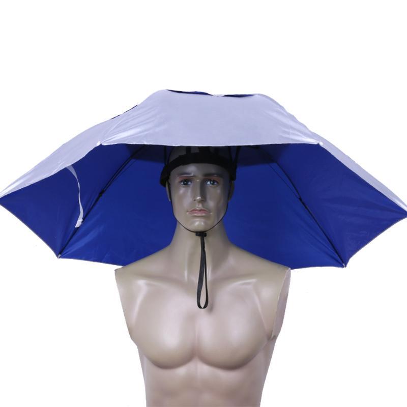 Sombrilla de cabeza plegable Anti-lluvia Anti-UV exterior gorras de pesca de viaje portátil senderismo playa sombrillas sombrero de lluvia