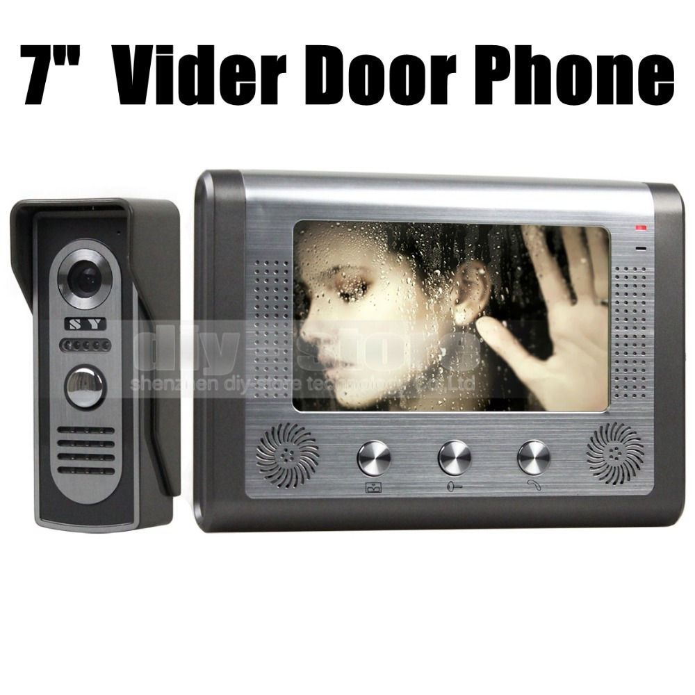 DIYSECUR 7 inch Wired Video Door Phone Door Bell System Kit Home Security Entry 2 Way Intercom IR Camera 2015 7 inch wired video door phone door bell system kit home security entry 2 way intercom ir camera