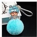 Free Shipping! Monchichi Soft Real Rabbit Fur Ball Plush Pompom Key Chain Car Women Handbag Key Ring Pendant Jewelry