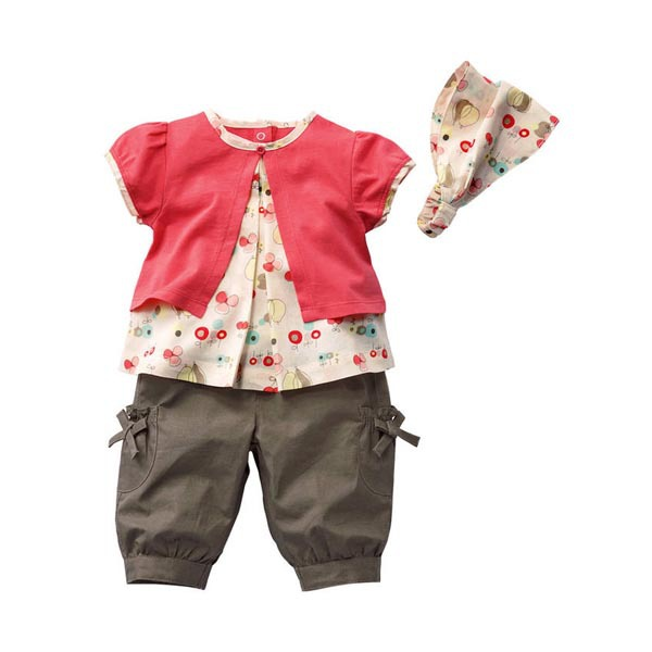 New Arrival Top Sale Kids Girls Clothing Sets 2015 Fruits Pattern Top Pants Hat Set Outfits