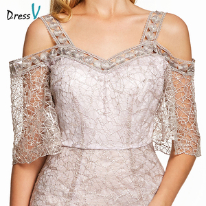 Image 4 - Dressv pink a line long evening dress backless cheap straps half sleeves wedding party formal dress lace evening dresses
