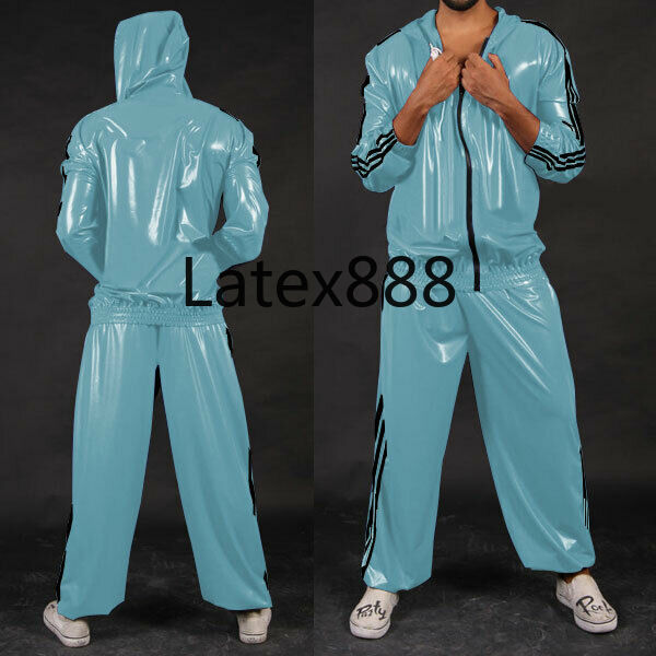 Pure Rubber Uniform Latex Men Light Blue With Black Zipper Hood Suit Size S-XXL