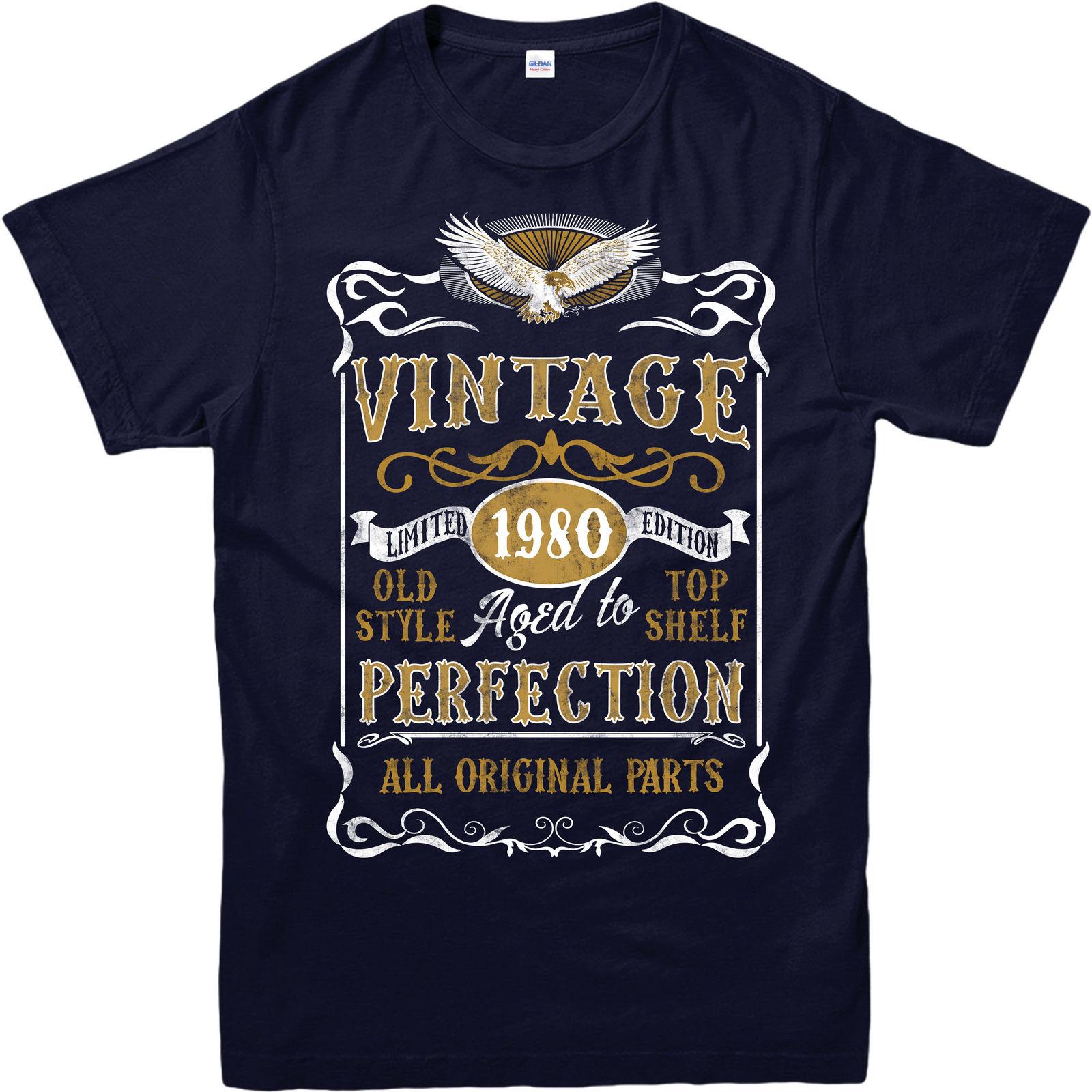 2018 vente Chaude D'été style Made in 1980 Vintage T-Shirt, né 1980 L'âge D'anniversaire Année Cadeau Top t-shirt