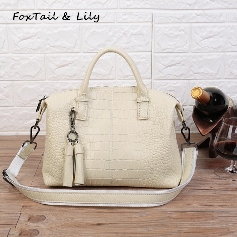 FoxTail & Lily Fashion Tassel Crocodile Pattern Genuine Leather Crossbody Bag Women Handbags Famous Designer Tote Shoulder Bags