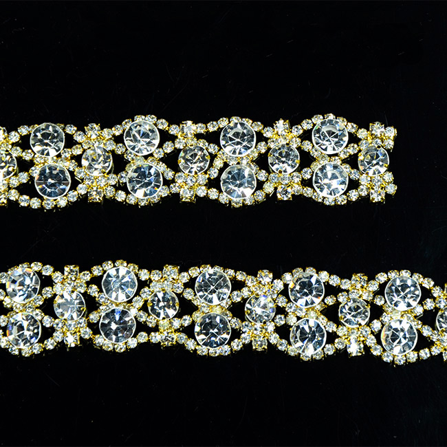 10Yards Silver Golden Tone Rhinestone Crystal Sewing Trims Applique Costume Chain 19mm in Rhinestones from Home Garden