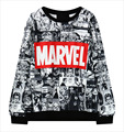 Harajuku Comics Printed Women Marvel Moletom Hoodie Tracksuit Black Women Cartoon EXO hip hop Female Sweatshirt Hoody Pullovers