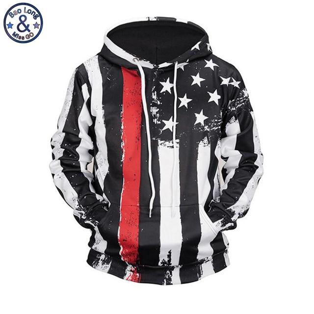 Mr. baolong marca rayas bandera americana 3D impreso negro hooded hoodies  hombres cordón Sudadera con 6d72e3a169a