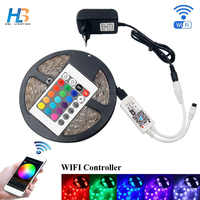 LED Strip Light 5M 10M 15M 5050 WIFI led Strip DC 12V Led tape IP20 IP65 led ribbon with adapter and wifi controller full kit