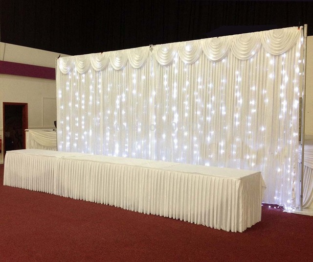White Silk Wedding Backdrop Curtain D With Led Light Star
