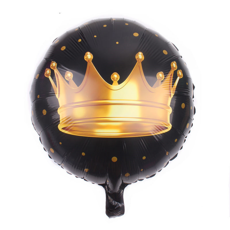 18inch Black Crown Round Foil balloons Happy birthday Party supplies Air balloon Classic inflatable toy globos cumpleanos infant