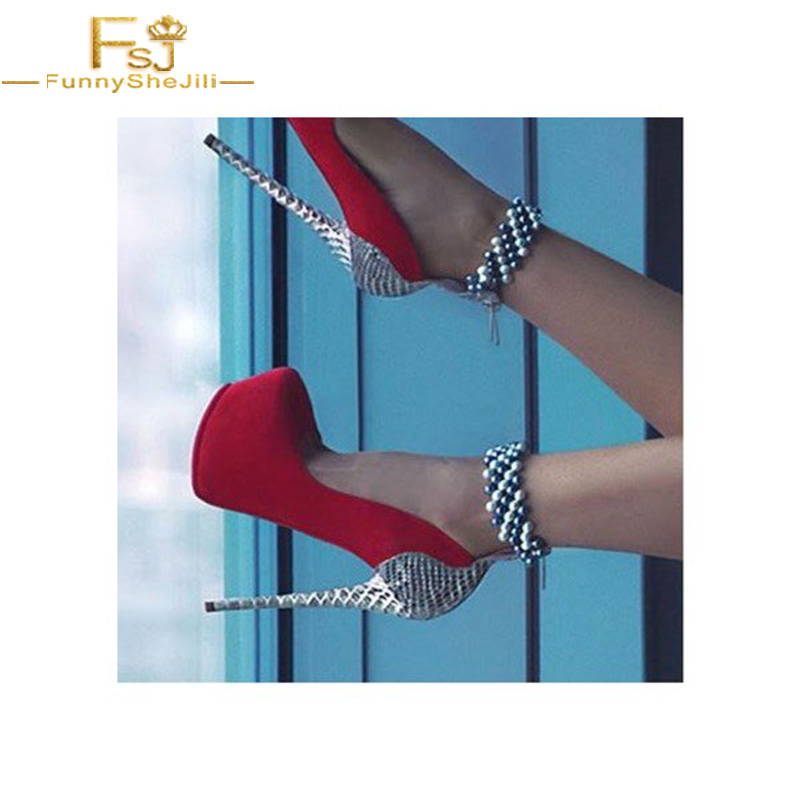 FSJ Women Shoes Ladies Pumps Red and Silver Stripper Heels Beads Ankle  Strap Platform 2018 Spring Autumn Plus Size Shoe 44 45 46-in Women s Pumps  from Shoes ... 3a021a2bd067