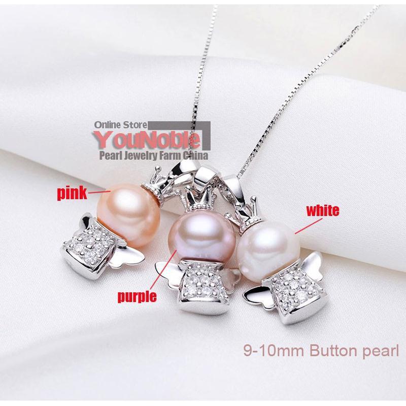 Real Hermosa perla de agua dulce colgante de plata 925, joyería de - Joyas - foto 2