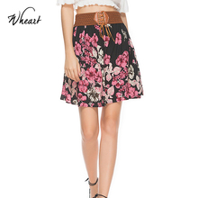 Wasteheart 2018 New Women Fashion Red Ployester Chiffon Casual Flower Printed Skirts Hight Waist Mini Plus Size Big