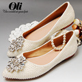 Pointed toe ladies pearl flat heel single shoes white flat women's shoes rhinestone wedding shoes pearl shoes