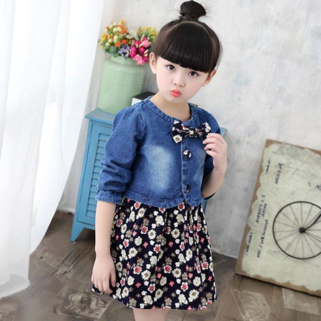 a8b3a611103 high quality children clothes 2019 new summer girls clothes sets coat+dress  outfit kids party floral dress spring jeans jacket