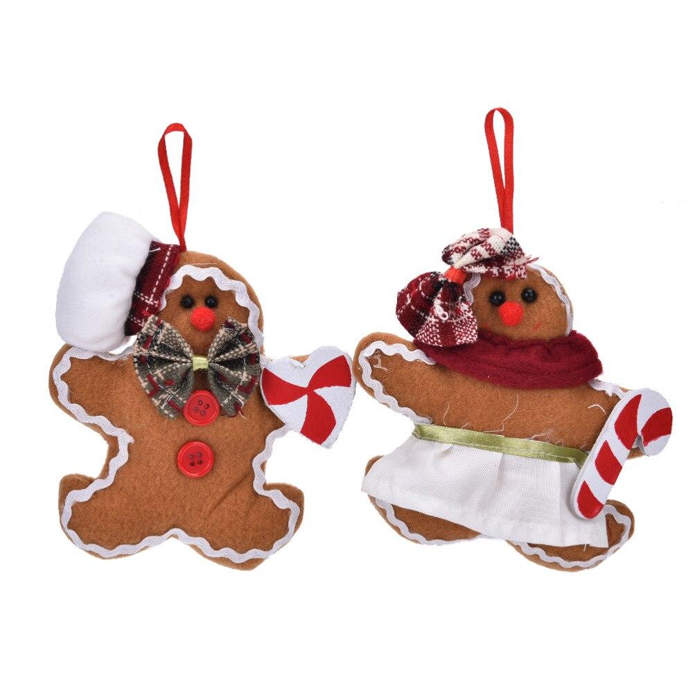 Gingerbread man ornaments - Gingerbread Man Christmas Tree Decorative Plush Small Hanging Pendant Christmas Decoration Cloth Doll Ornaments China