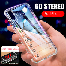 6D Suara Stereo Airbag DROP-Proof Silicone Bening Case Penuh Cover UNTUK iPhone X Max XR X 8 7 6 6 S PLUS Soft TPU Transparan Case(China)
