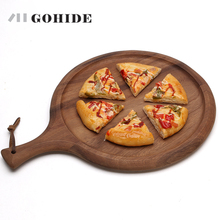 JUH A Natural Acacia Wood Bread Pizza Chopping Block Creative Anti-bacterial Round Fruit Plate Mini Pizza Chopping Board