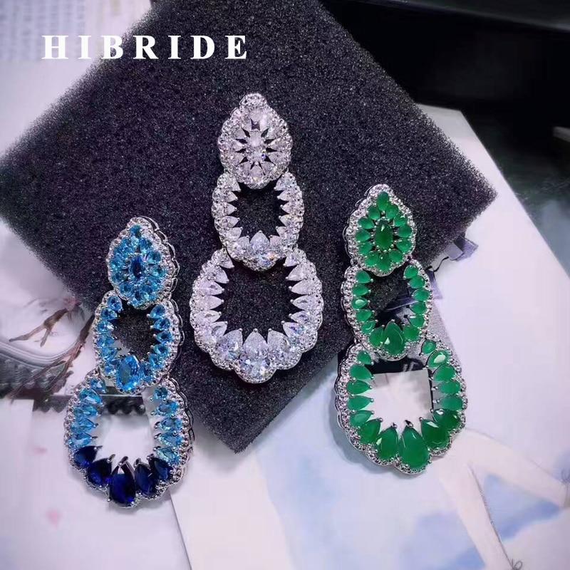 HIBRIDE Bohême Style Multicolore Cubique Zircon Pendientes Mujer Moda Femmes Boucles D'oreilles Femme Bijoux Brincos E-468