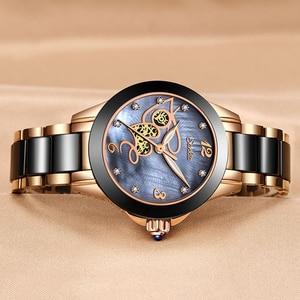 Image 5 - SUNKTA أعلى جودة السيدات حجر الراين ساعة فاخرة ارتفع الذهب الأسود السيراميك مقاوم للماء ساعات امرأة الكلاسيكية سلسلة السيدات ساعة