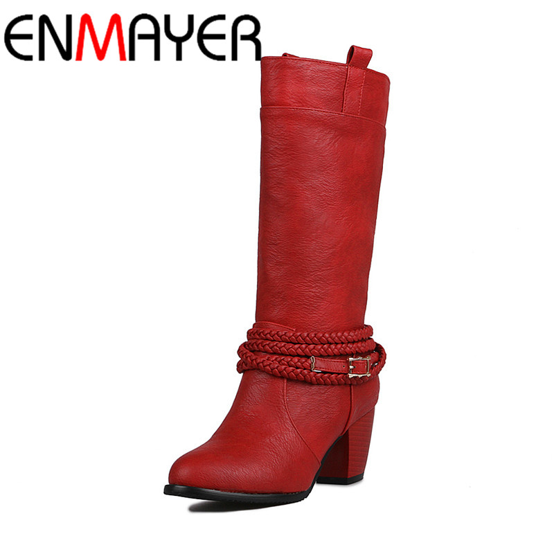 ENMAYER Motorcycle Boots Sexy Red High Heels Round Toe Mid-calf Boots Shoes Woman Large Size 34-43 Charms Platform Winter Boots enmayla ankle boots for women low heels autumn and winter boots shoes woman large size 34 43 round toe motorcycle boots