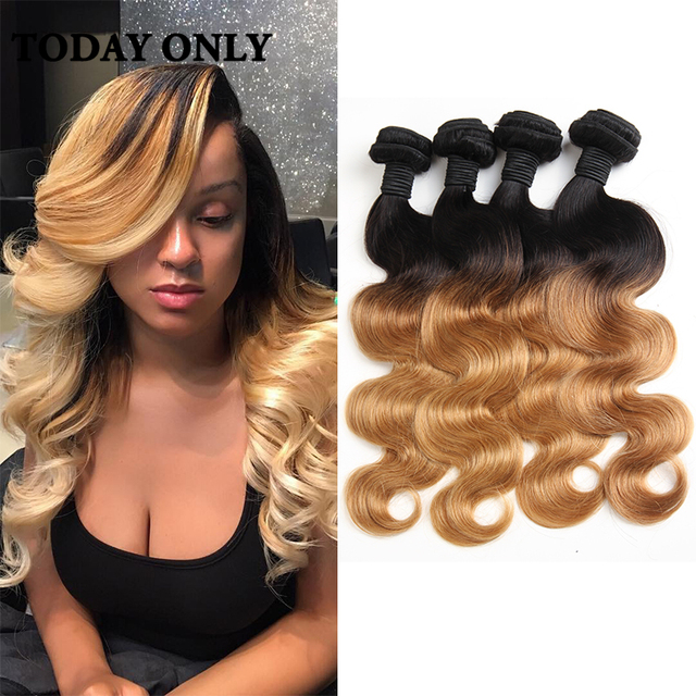 ff513968055 US $98.54 |Peruvian Virgin Hair Body Wave 1b 27 Ombre Hair Bundles Peruvian  Virgin Hair 4 Bundles Soft Blonde Ombre Human Hair Extensions on ...