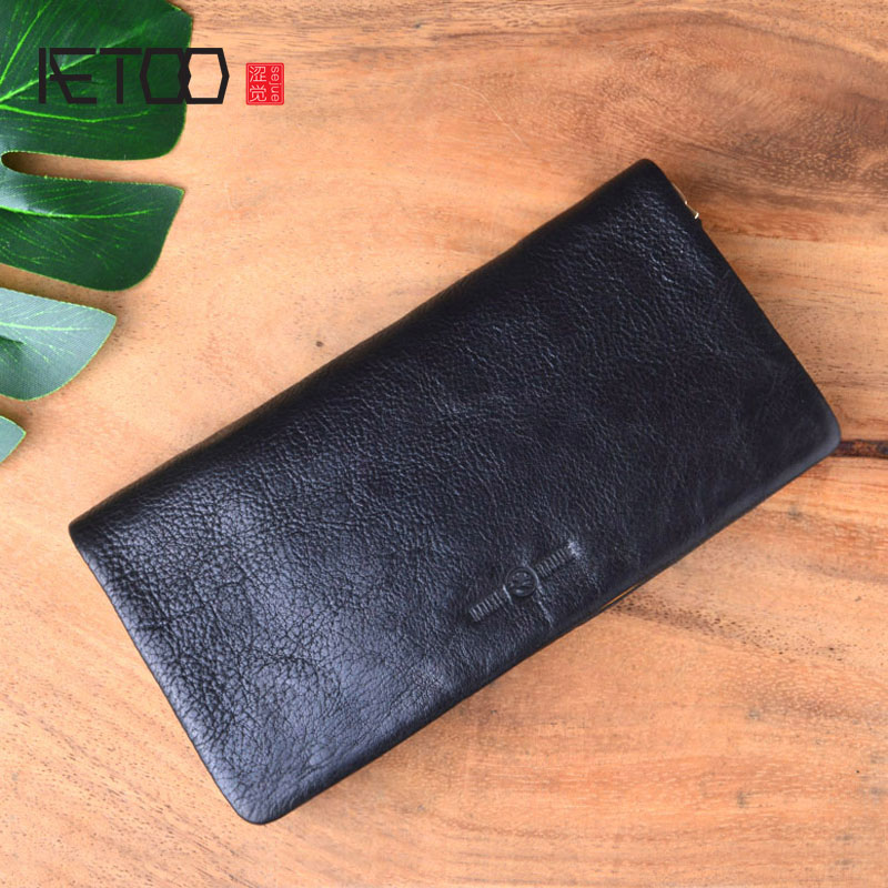 AETOO Japanese retro handmade leather top layer vegetable tanned leather wallet men's leather zipper wallet long soft leather handwork top quality breif men wallet retro genuine leather minimalist wallet for men vegetable tanned leather wallet cardholder