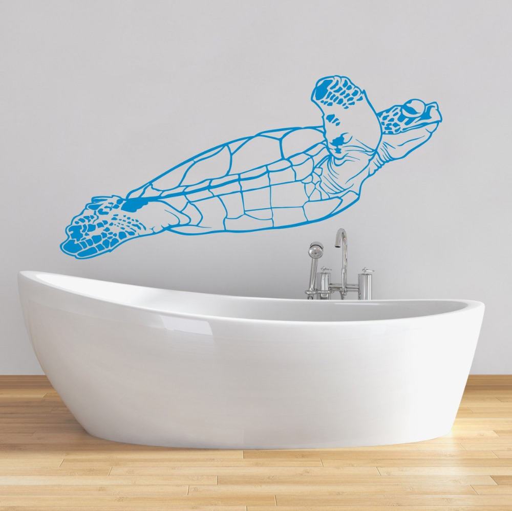 Turtle Wall Decal Tortoise Vinyl Sticker Sea Animal Ocean Nautical Marine Decor Bathroom Bedroom Dorm Vinyl