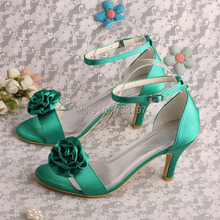 Wedopus MW397ชื่อแบรนด์สีเขียวซาตินดอกไม้รองเท้าเจ้าสาวสำหรับผู้หญิงแต่งงานDropship