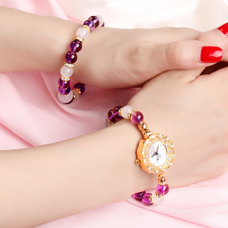 Women's Watches Small and Delicate Amethyst Crystal Agate Gold Zircon stone Waterfront Wrapped Bracelet lady Quarz wrist watch image