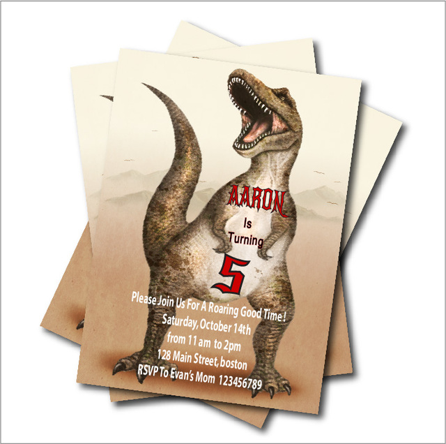 20 Pcs Lot Personalized Dinosaur Birthday Invitations Baby Shower Invites Vintage Rustic Retro Party Decoration Free Shipping