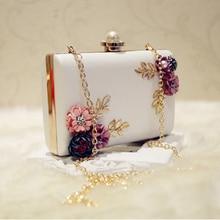 LJL Модные женские кожаные вечерние сумки вечерние женские свадебные цветок клатч кошелек(белый