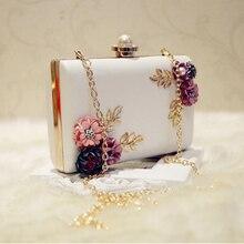LJL moda kadın deri akşam çanta yemeği parti Lady düğün çiçek debriyaj çanta (beyaz)