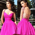 Beautiful Fuchsia Sweetheart Beaded See Through Lace Half Sleeves Short Prom Party Dresses Cocktail Homecoming Dresses