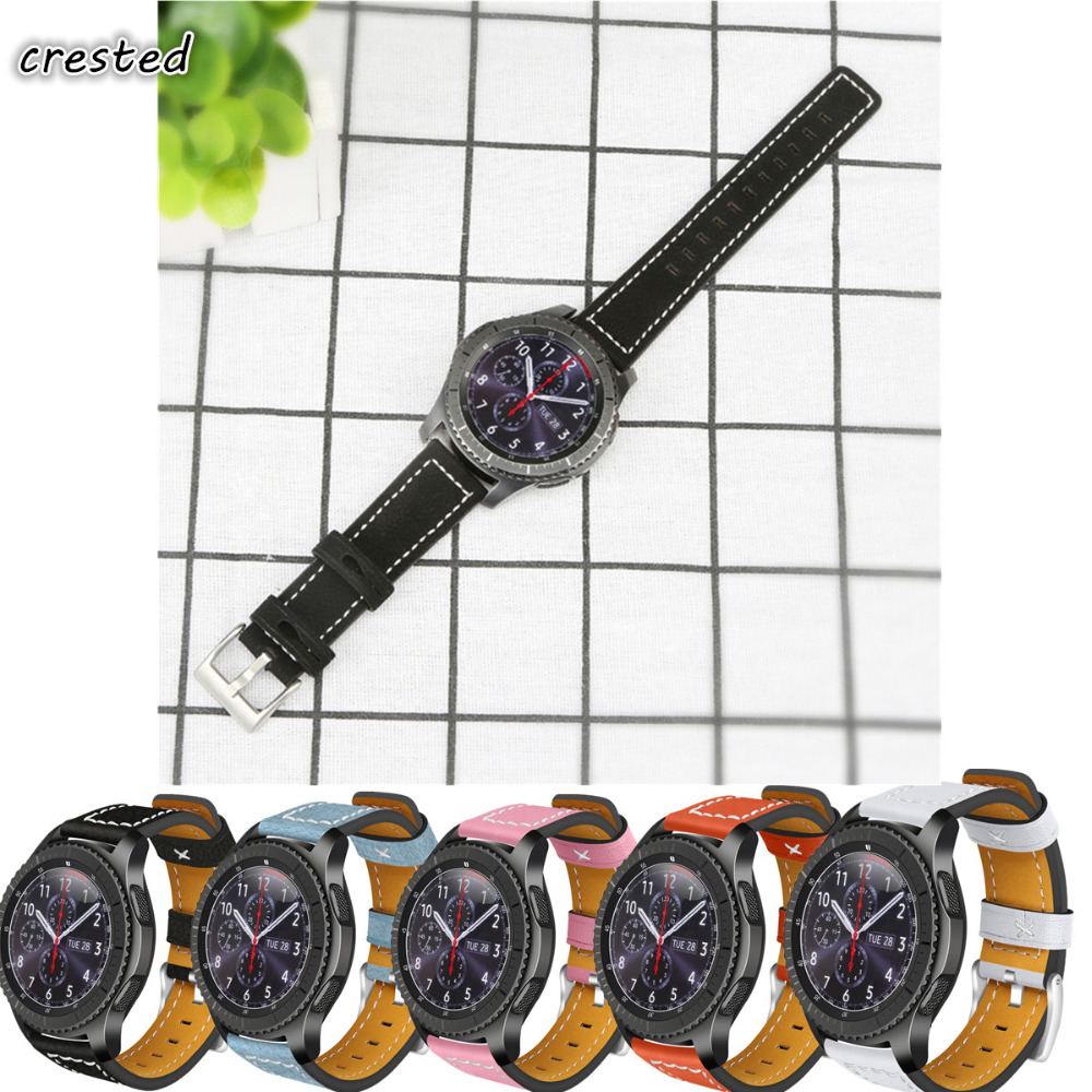 CRESTED Genuine Leather watch band for samsung gear s3 frontier/classic leather bracelet watchbands replacement watch strap 22mm crested sport silicone strap for samsung gear s3 replacement bracelet rubber band for samsung gear s3 watch band