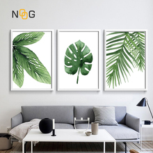 NOOG Watercolor Leaves Wall Art Canvas Painting Green Style Plant Nordic Posters and Prints Picture Modern Home Decoration