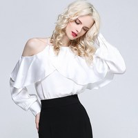 White Blouse Women 100 Silk Off Shoulders Ruffles Halter Neck Solid Long Sleeves Tops Elegant Sexy