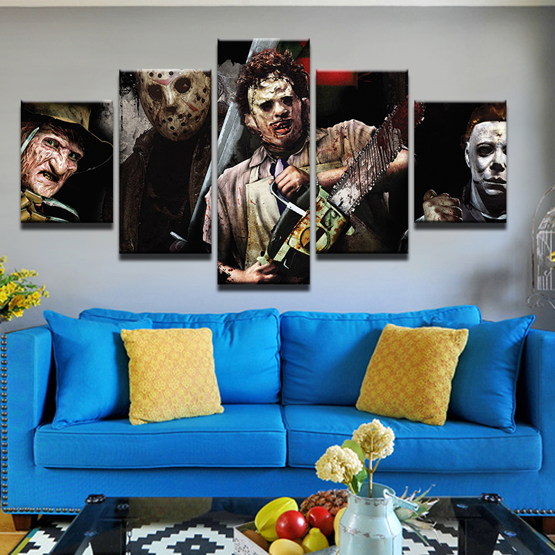 Jie Do Art 5 Pieces Horror Characters Wall Picture Home
