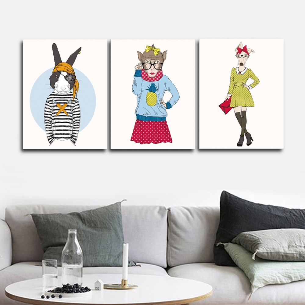 Anthropomorphic Animals Wall Picture Poster Print Canvas Painting Calligraphy Decor for Living Room Bedroom Home Decor Frameless in Painting Calligraphy from Home Garden