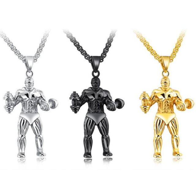 Quote Aggressiveness Stainless Steel Fitness Man Pendant Necklace Personalized Sports Necklace