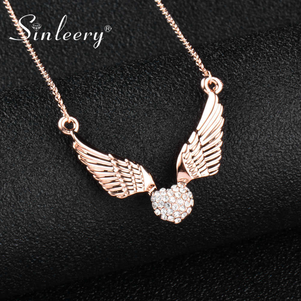 SINLEERY Fashion Angel Wing Crystal Heart Necklace Women Rose Gold Silver Color Chain Jewelry For Family Friends Gifts Xl530 SSC