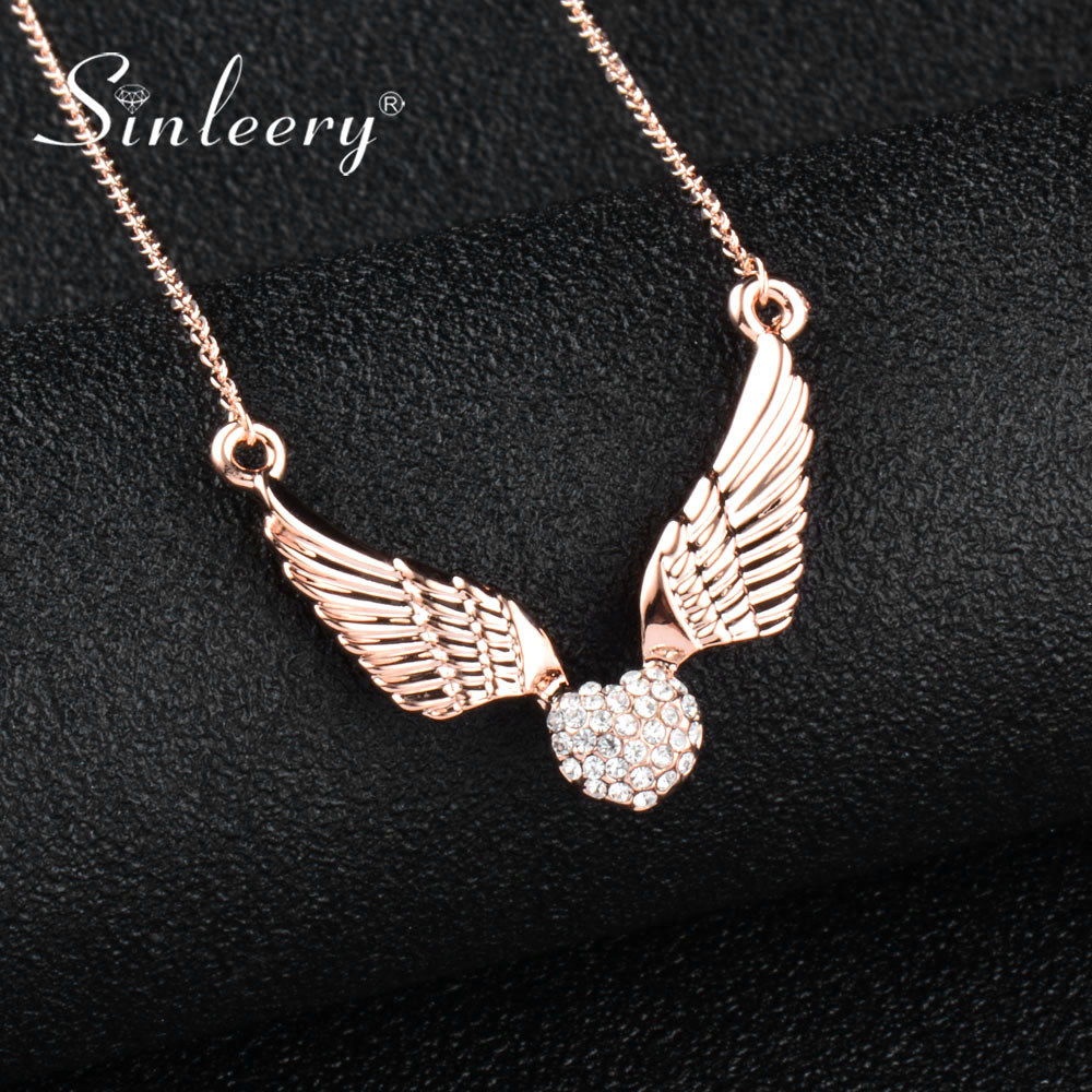 SINLEERY Fashion Angel Wing Heart Crystal Necklace Pendants Women Rose Gold Color Chain Jewelry For Mother Day Gifts Xl530 SSC