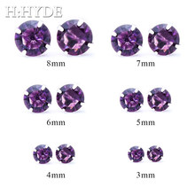H:HYDE Clear Zircon CZ Crystal 4 Colors Round Stud Earrings For Women Brincos Wedding Earrings Jewelry boucle d'oreille TY(China)