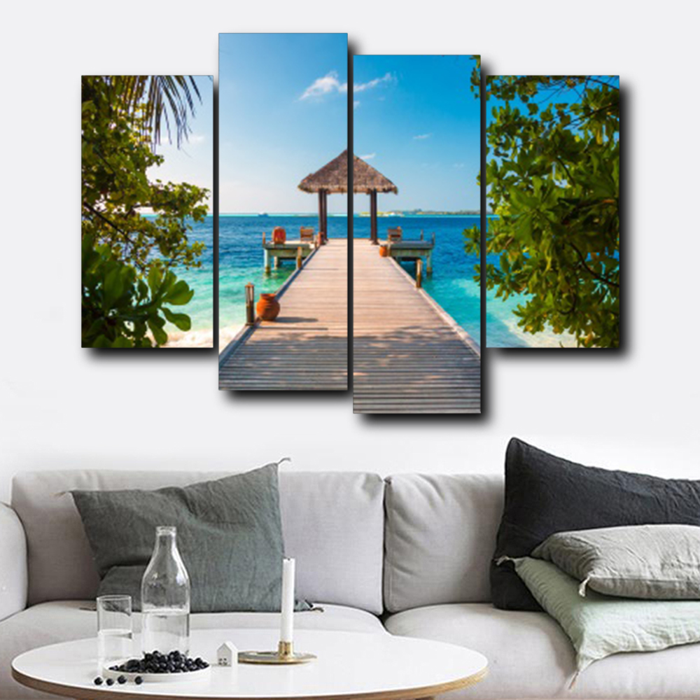 Laeacco Tropical Sea Plank Road Posters and Prints Abstract Wall Artwork Canvas Painting Living Room Bedroom Wedding