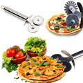 Stainless Steel Double Roller Pizza Knife Cutter Pastry Pasta Dough Crimper Round Hob Lace Wheel Knives Kitchen Accessories Tool