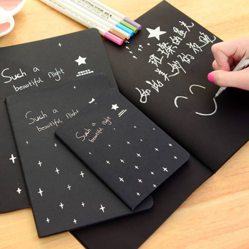 1Pcs Graffiti Soft Cover Black Paper Sketch Book Notebook Sketchbook Diary For Drawing Painting Office School Supplies Kids Gift